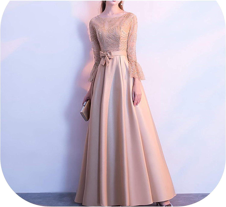 Hengheng-Shop O Neck Aribic Muslim Evening Dress Long Sleeve Satin