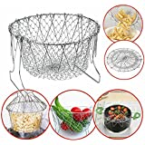 Collapsible Colander Mesh Basket Steam Rinse Strainer Stainless Steel Filter Kitchen Sieve Fry French Chef Basket