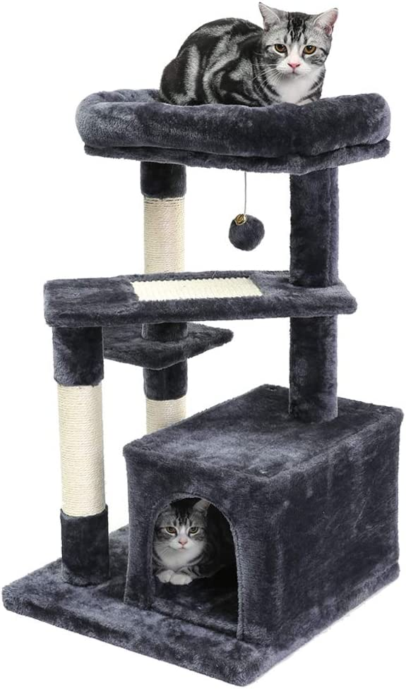 SUPERJARE Cat Tree with Extra Scratching Board & Posts, Kitten Tower Center with Plush Perch and Dangling Ball, Pet Play Condo Furniture