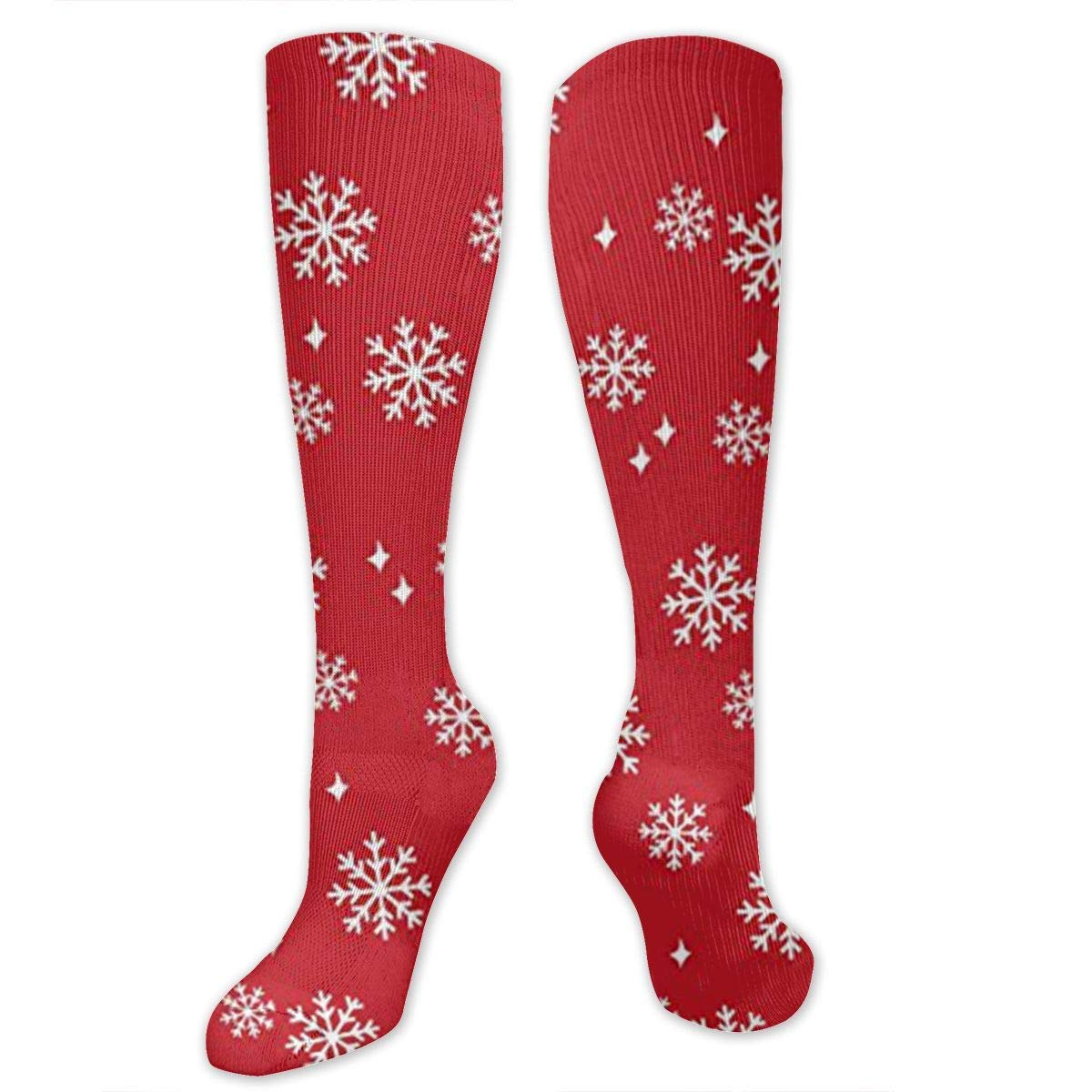 Snowflake Red Christmas Mens//Womens Sensitive Feet Wide Fit Crew Socks and Cotton Crew Athletic Sock
