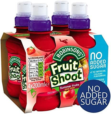 Robinsons Fruit Shoot Summer Fruits No Added Sugar - 4 x 200ml (27.05fl oz)