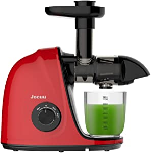 Juicer Machines, Joccu Cold Press Juicer, Slow Masticating Juicer with Soft/Hard 2-Speed, Easy to Clean, Quiet Motor, Reverse Function, with Brush & Fruit Vegetable Juice Recipes, Red