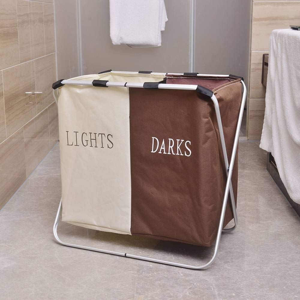 viavia Double Compartments Collapsible Laundry Hamper Washing Basket Bag 2 Sections Aluminum Frame Dirty Clothes Sorter Storage Box - Beige/Coffee
