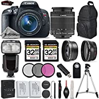 Canon EOS Rebel T5i DSLR Camera Full HD 1080p + Canon18-55mm IS STM Lens + .43x Wide Angle Lens + 2.2X Telephoto Lens + 3PC Filter Kit (UV-CPL-FLD) + 64GB Storage - International Version