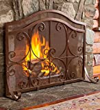 Large Crest Flat Guard Fireplace Screen, in Copper finish