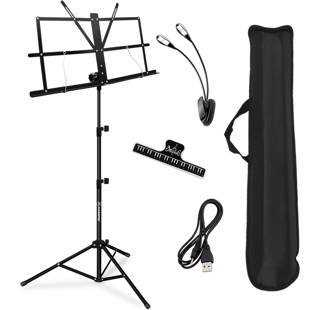 Music Stand, Kasonic Professional Collapsible Orchestra Portable and Light weight with Music Sheet Clip Holder & Carrying Bag Suitable for Instrumental Performance MS102A