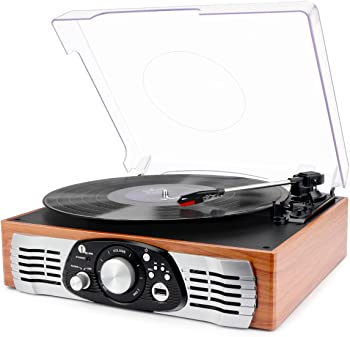 1byone Belt-Drive 3-Speed Stereo Turntable w/Built in Speakers
