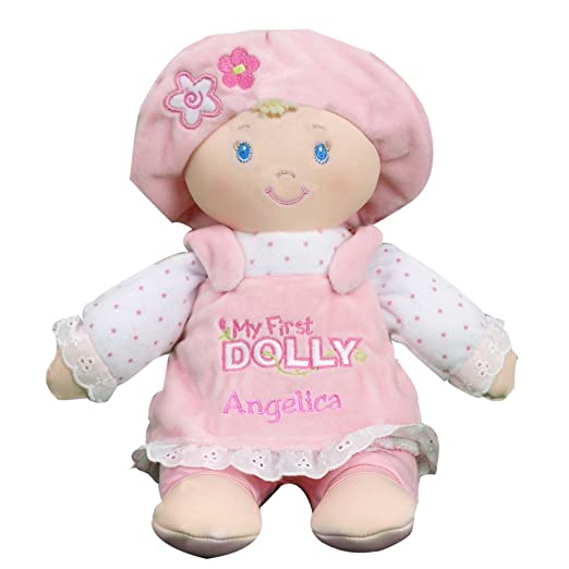 "GiftsForYouNow Personalized Pink My First Dolly, 12"" x 11"" - Machine Washable Blonde Doll Plush"