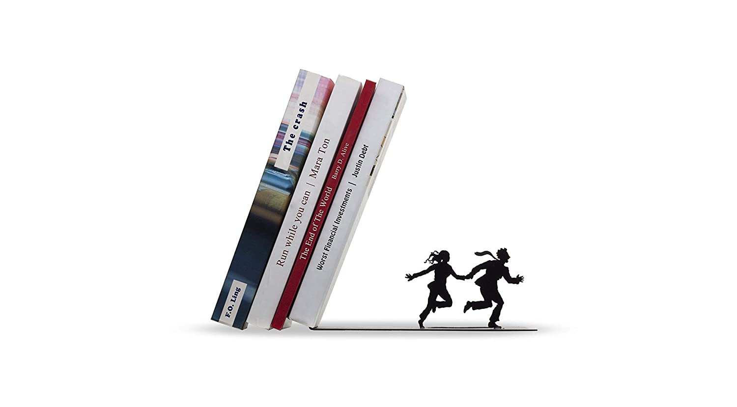 ARTORI Design Runaway Bookend - Falling Books on a Running Couple - Black Metal Bookend - Gifts for Couples, Romantic Gift AD105