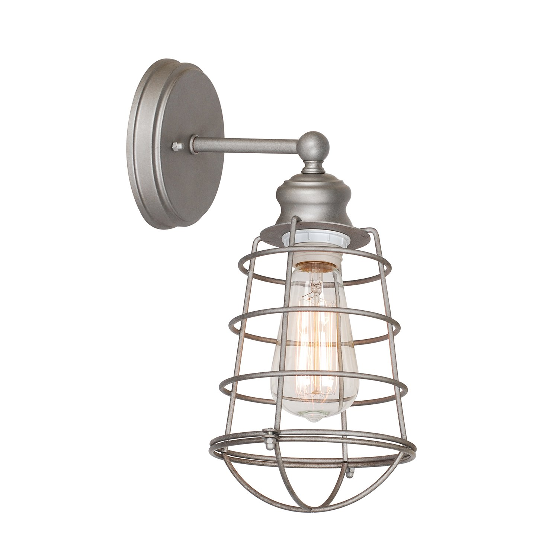 Design House 519702 Ajax 1 Light Wall Light, Galvanized Steel Finish