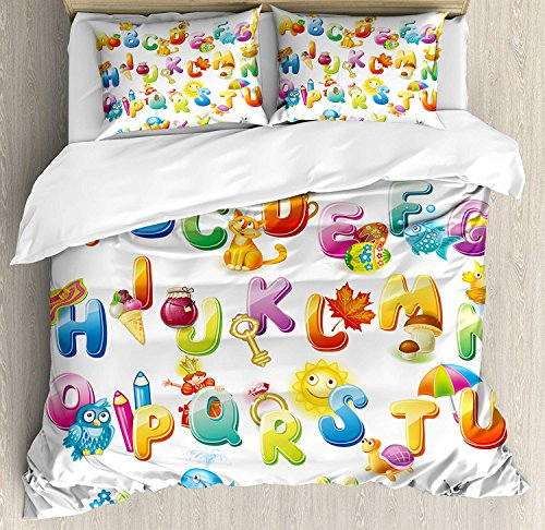 4 Piece King Size Duvet Cover Set,Educational Cheerful Cartoon Fun Alphabet for Cute Font Preschool,Bedding Set Luxury Bedspread(Flat Sheet Quilt and 2 Pillow Cases for Kids/Adults/Teens/Childrens ()