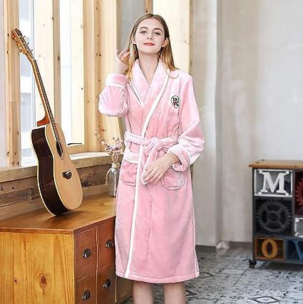 Mujer Bata De Baño Invierno Grueso Calentar Nuevo Coral Fleece Ropa De Dormir Túnica Larga Hotel