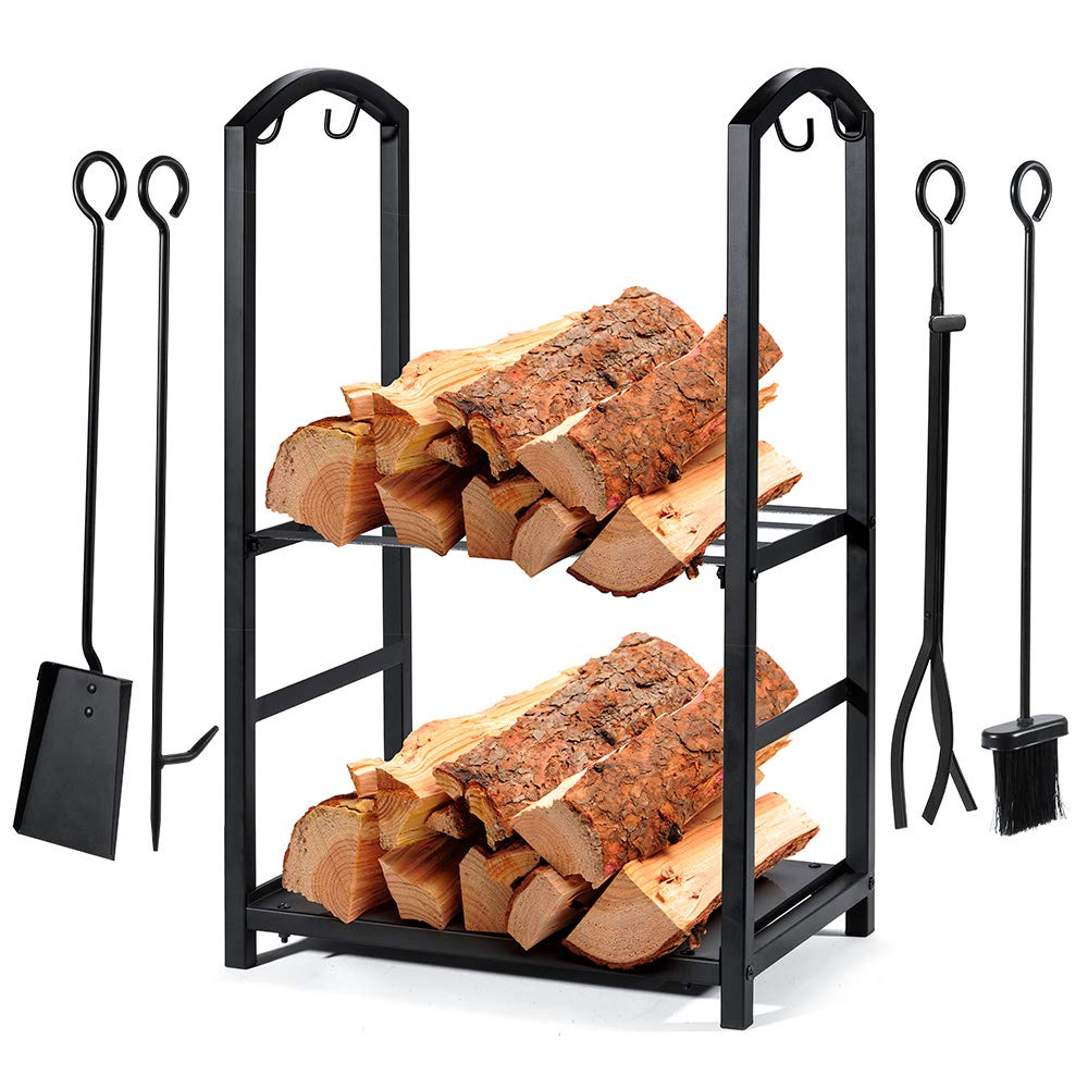 Syntrific Fireplace Log Rack with 4 Fireplace Tools Fireplace Log Holder for Indoor and Outdoor Heavy Duty Steel Black Fireplace Log Rack Wrought Iron Logs Bin Holder for Fireplace Tool Set by Syntrific
