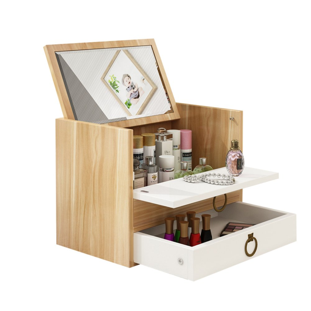 Rart DIY Makeup Storage Box,Multi-Layer Drawer Storage Boxes Wooden Desk Organiser Jewellery Box with Mirror-Keeping Your Dressing Table More Tidy -G ...