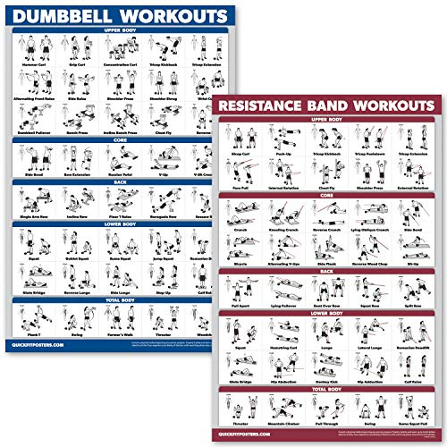 QuickFit Dumbbell Workouts and Resistance Bands Exercise Poster Set - Laminated 2 Chart Set - Dumbbell Exercise Routine & Resistance Tubes Workouts (18