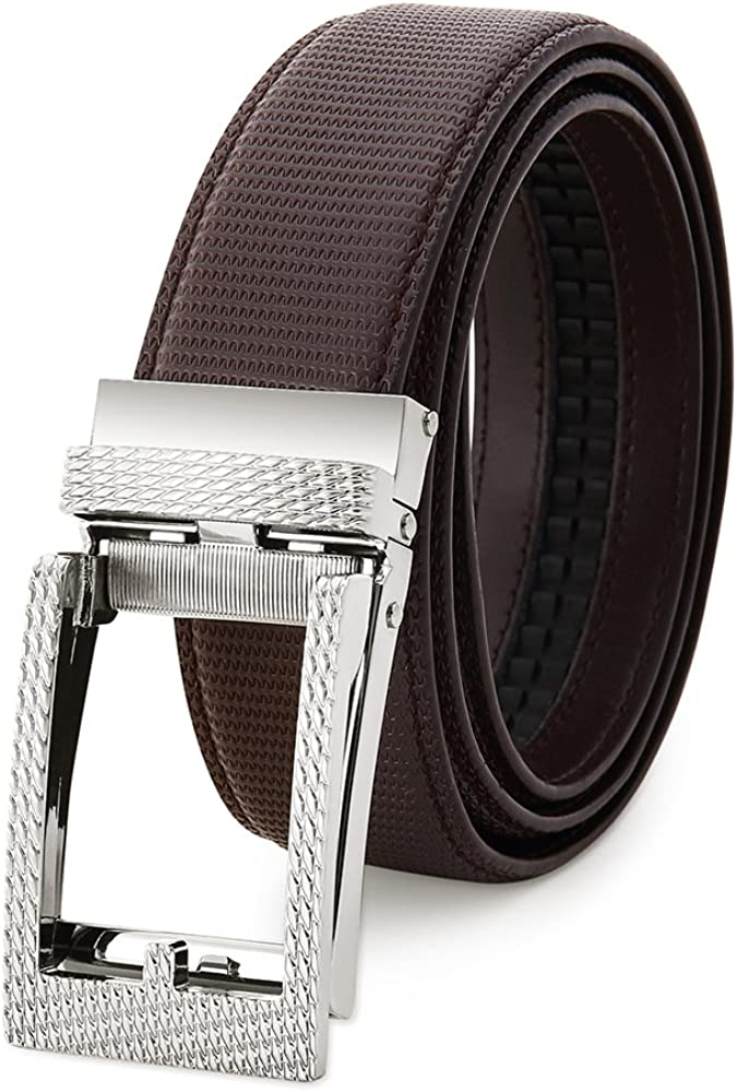 Adjustable Belt Trim to Fit Mens Belt Bestkee Genuine Leather Ratchet Belts for Men with Automatic Sliding Buckle