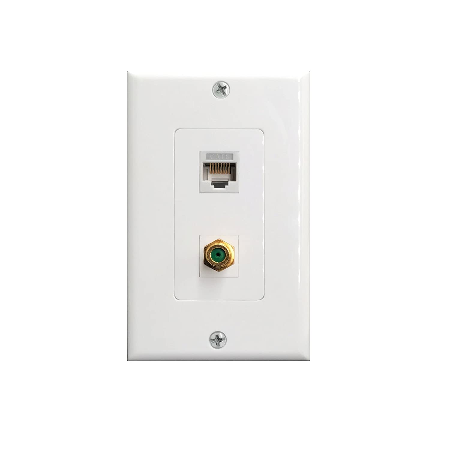 Rj45 Cat6 Ethernet Port And Gold Plated Brass Cable Tv Coax F Type Cat 6 Wiring Wall Plate