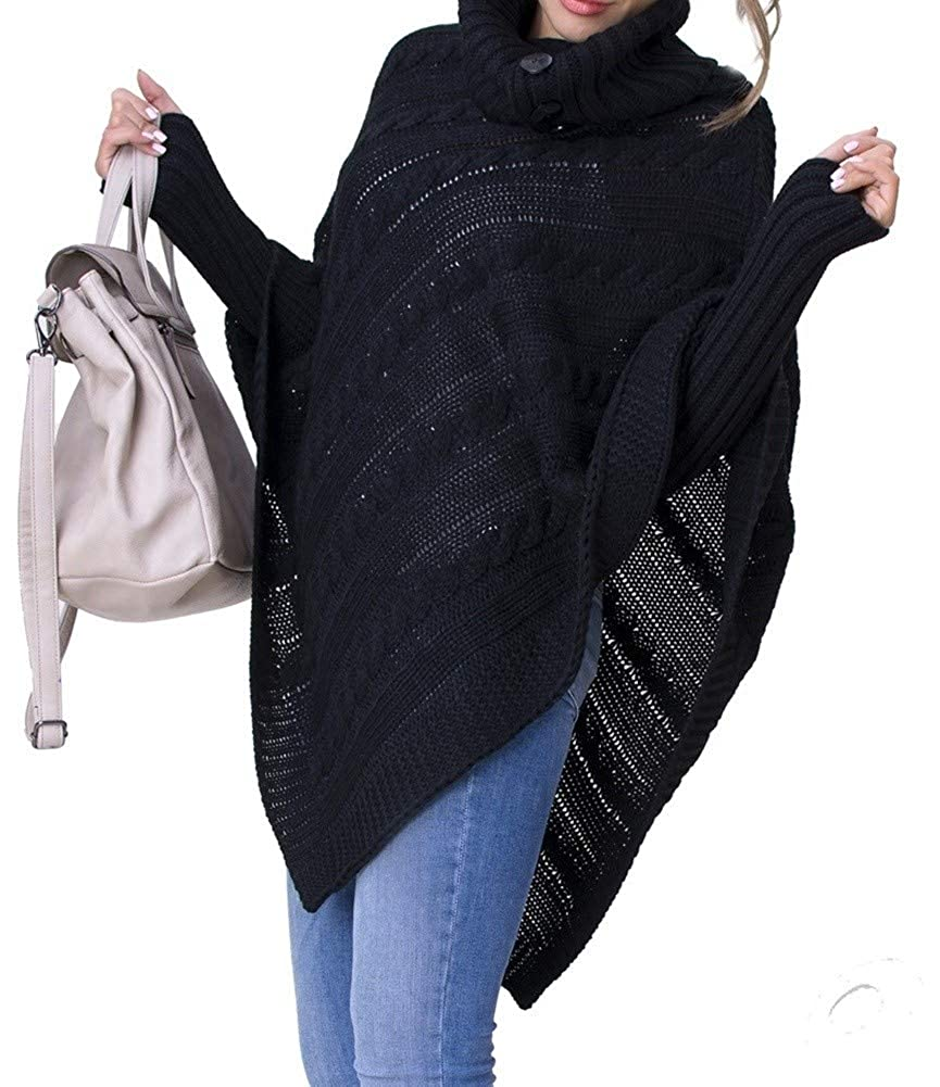Zeta Ville - Poncho in maglia - Collo alto arrotolato - Le trecce - Donna 968z ONE SIZE IT 40/42/44 ) PONCHO_SET_4