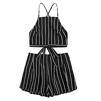 0366d26273 Women Rompers Two Piece Spaghetti Strap Stripe Crop Cami Top with Shorts  Outfits Beach Jumpsuit for