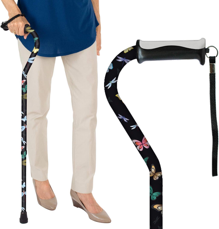 Vive Walking Cane - for Men & Women - Portable, Adjustable Offset Balance Stick - Lightweight & Sturdy Mobility Walker Aid for Arthritis, Elderly, Seniors & Handicap (Black Butterfly)