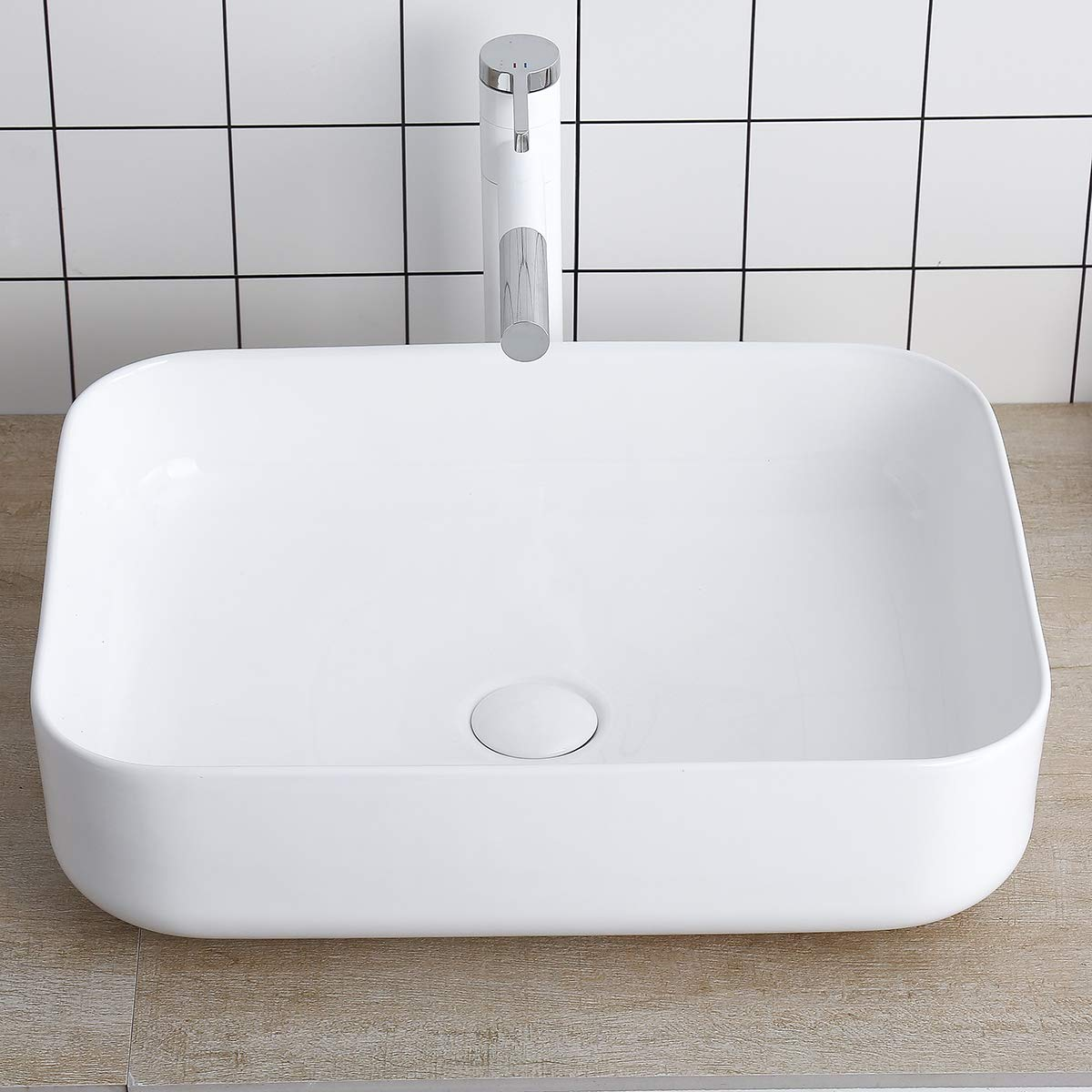 Rectangular White Porcelain Ceramic Sink Bathroom Vessel Sink 19 Inch – Bathroom Vanity Bowl Above Counter Sink Art Basin Lalasani Kitchen Sink Fireclay Farmhouse Sink