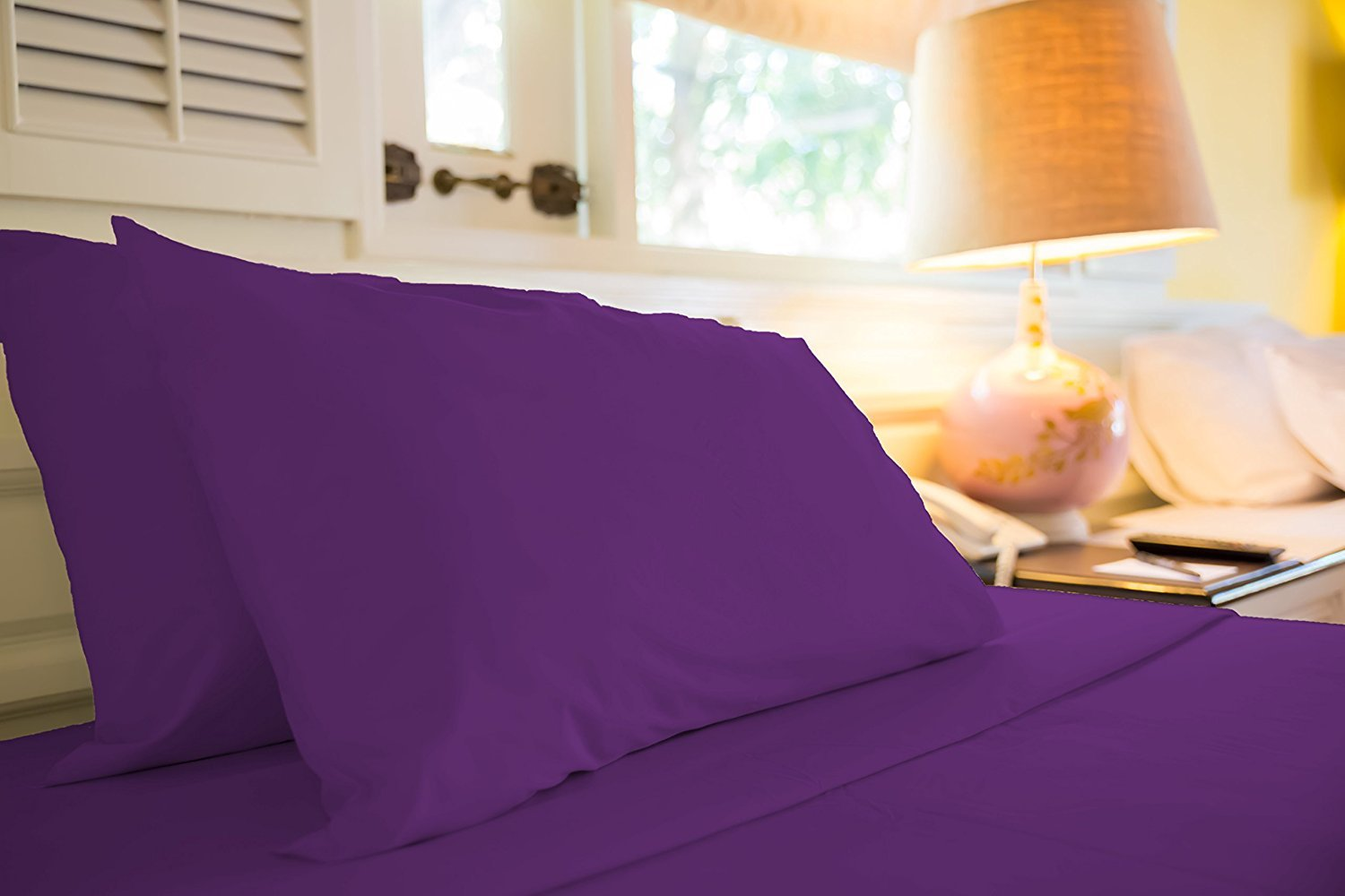 Jessica Snow Bed Sheet Set 4 Piece King, Eggplant