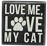 Primitives by Kathy Square Box Sign, 5-Inch, My Cat