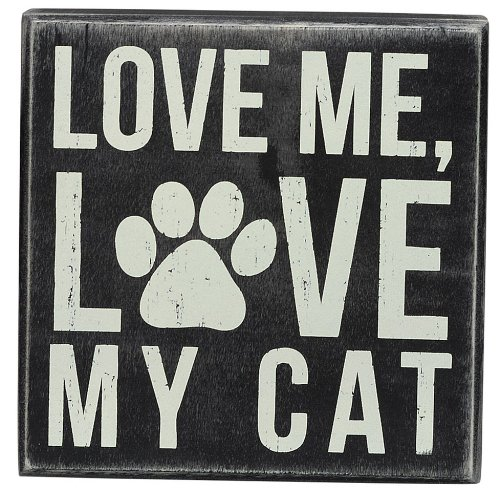 Primitives by Kathy Square Box Sign, 5-Inch, My Cat (Gifts Of Love For Men)