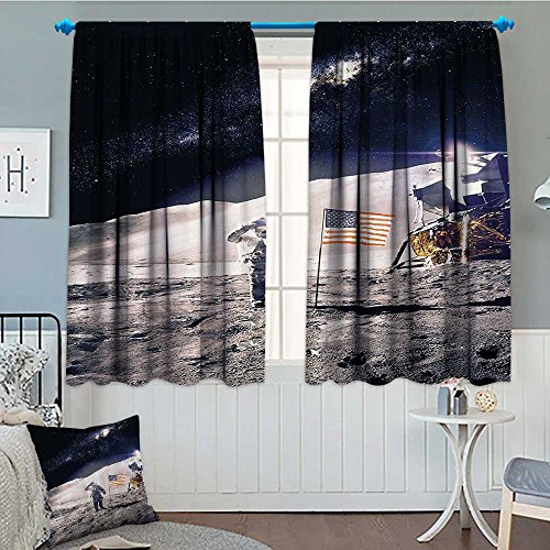Space Room Darkening Wide Curtains Astronaut on Moon with Am