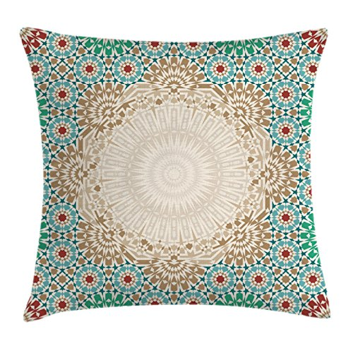 (Ambesonne Moroccan Throw Pillow Cushion Cover, Ottoman Mosaic Art Pattern with Oriental Floral Forms Antique Scroll Ceramic Boho Print, Decorative Square Accent Pillow Case, 20 X 20 Inches, Multi)