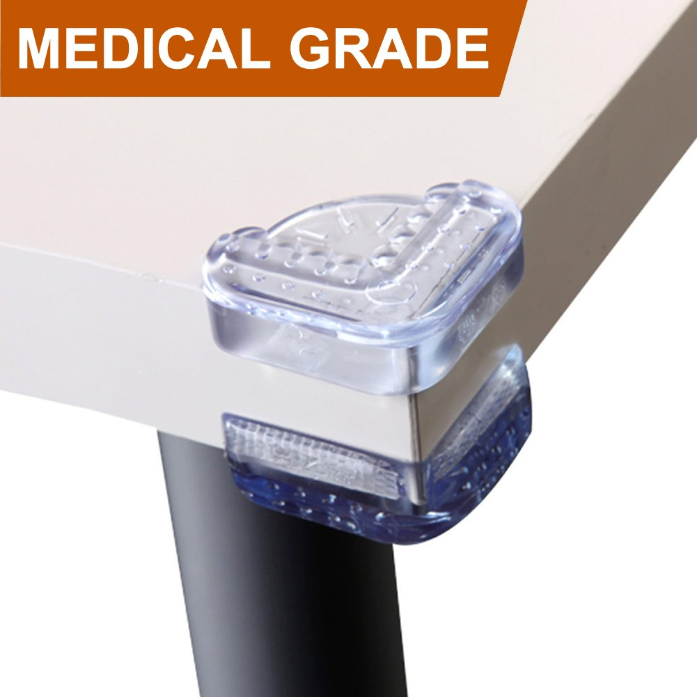 Baby Mate 24 PCS Medical Grade 1.6'' R Large Flat Table Corner Guards - Clear Edge & Corner Protector - Child Proof Corner Bumpers Corner Cushion - up-Down Corner Covers Baby Safety Corner Guards by Baby Mate (Image #1)