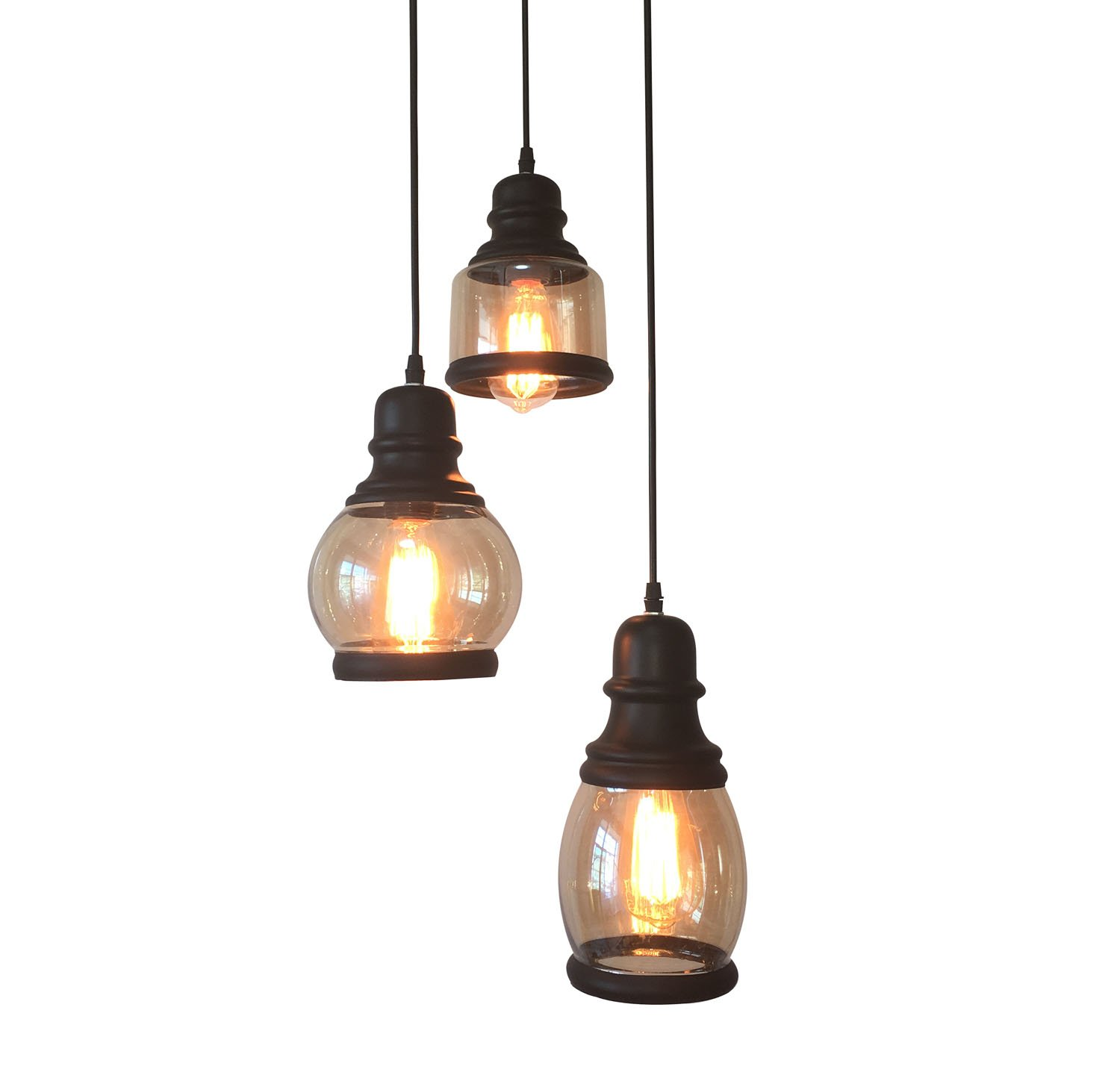 HuitengTec Vintage Industrial Metal and Amber Glass Shade Jar Hanging Pendant Light Three Light Fixture for Kitchen and Stairwell Lighting