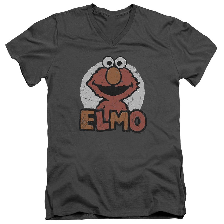 Sesame Street Classic TV Show Elmo Distressed Adult V-Neck T-Shirt Tee
