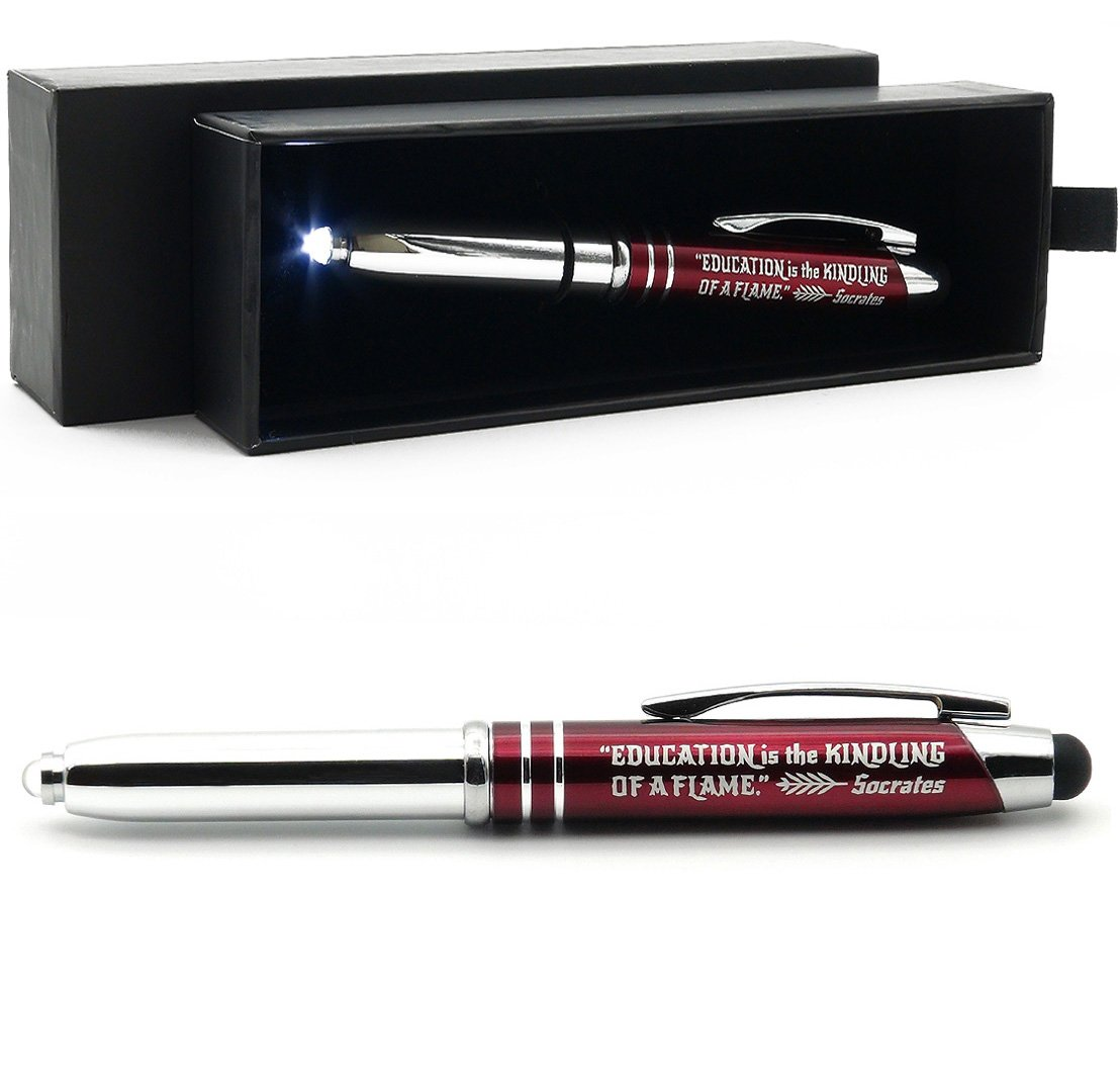 Teachers' Gift Pen with Flashlight and Stylus Tip, Engraved with Inspirational Socrates Quote -Education is the Kindling of a Flame. - Teacher Appreciation Gift Ideas for Teachers