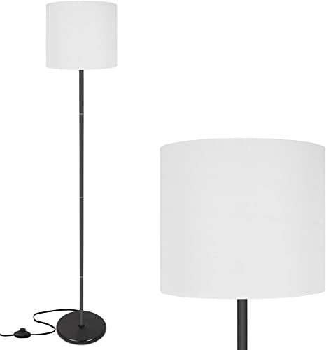 Amazon Com Led Floor Lamp Simple Design Modern Floor Lamp With Shade Tall Lamps For Living Room Bedroom Office And Study Room Stand Up White Floor Lamp Without Bulb Home Improvement