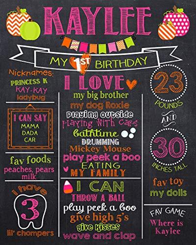Dozili Personalized Pumpkin 1st Birthday Chalkboard Style -