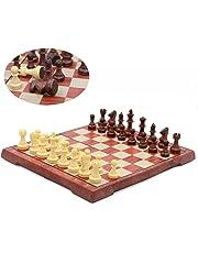 T Tocas Jeu de jeu d'échecs magnétiques de voyage avec échiquier pliable, conception en bois (Café et Beige - Petit (24.5cmx 21.5cmx 1.9cm))
