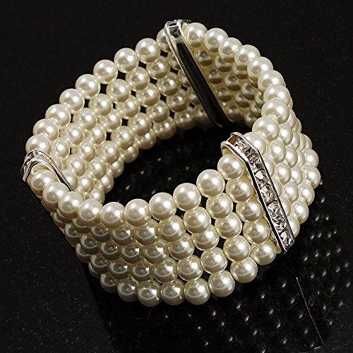 5 Strand Pearl Bracelet - 5-Strand Imitation Pearl Crystal Flex Bracelet (Snow White)