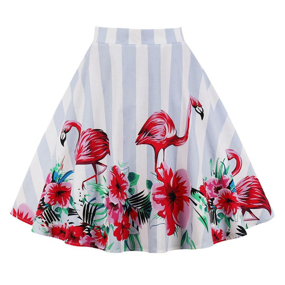 Filfeel Women's Flower Print A-Shaped Flare Skirt Flamingo Striped Pleated Skirt