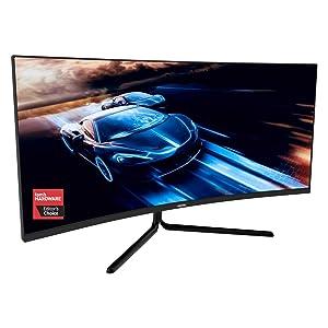 VIOTEK GNV34DBE 34-Inch Curved Gaming Monitor | 144Hz UWQHD 4ms | 2X HDMI 2.0, 2X DisplayPort 1.4, 3.5mm | G-Sync-Ready, FreeSync | 3-Yr Warranty (VESA)