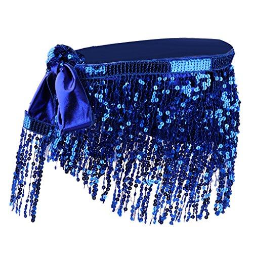 MagiDeal Moda Danza de Vientre Cintura Cadena Cadera Falda Bufanda con Lentejuelas Borla - Azul Claro Azul Oscuro