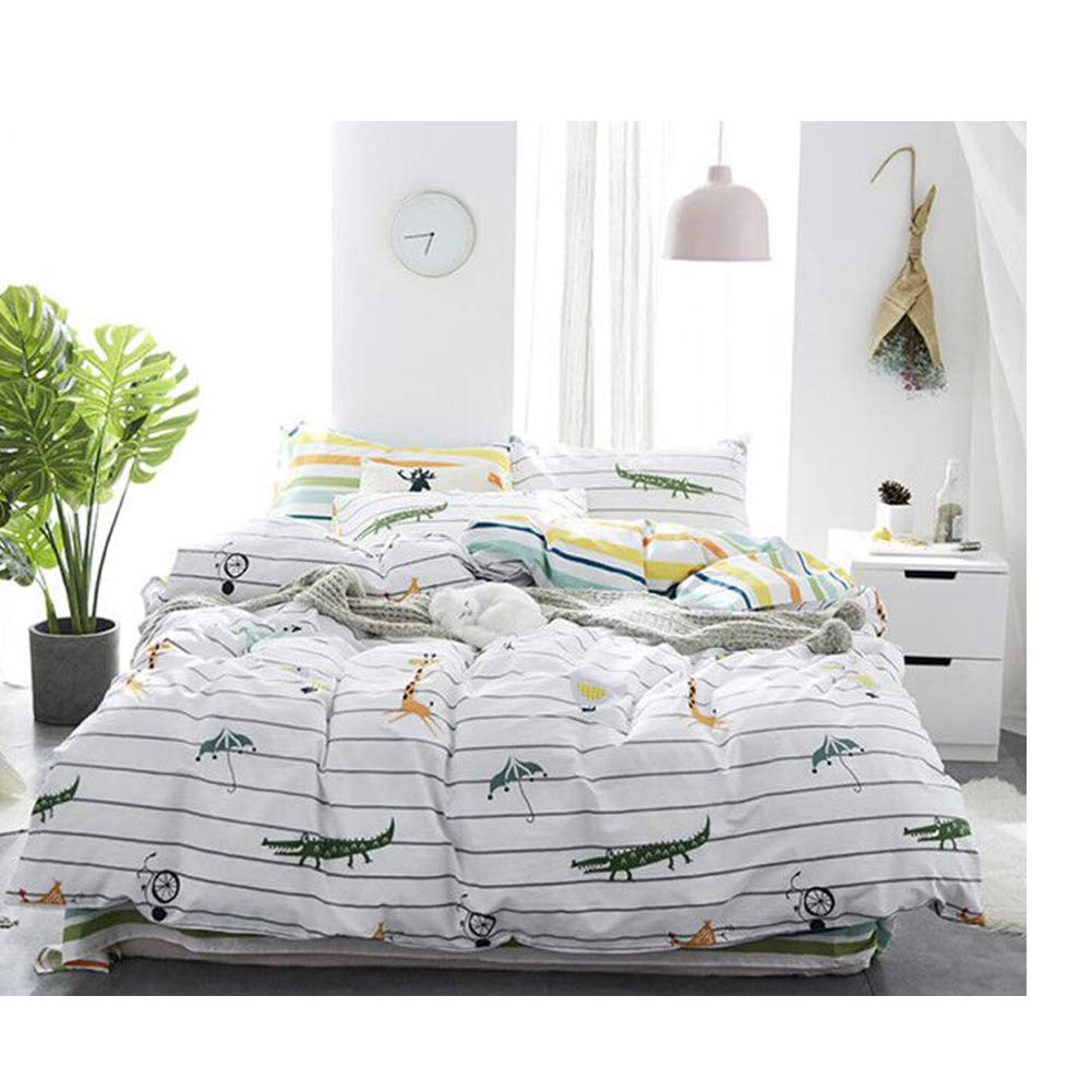 Giraffe Crocodile Print Queen Duvet Cover Hotel Bedding Sets 100% Cotton Super Soft with Zipper Closure 1 Duvet Cover and 2 Pillow Shams(Queen, Giraffe Crocodile)