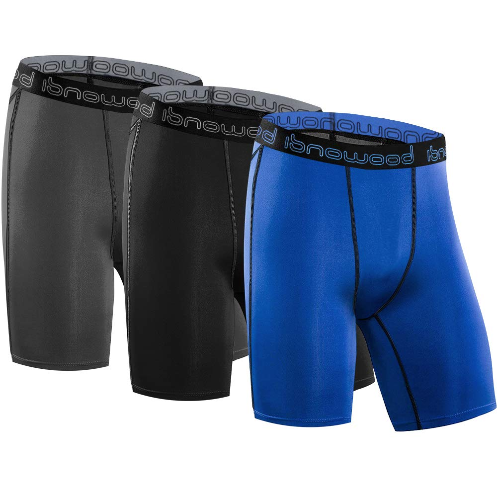 isnowood Mens 3 Pack Performance Compression Shorts