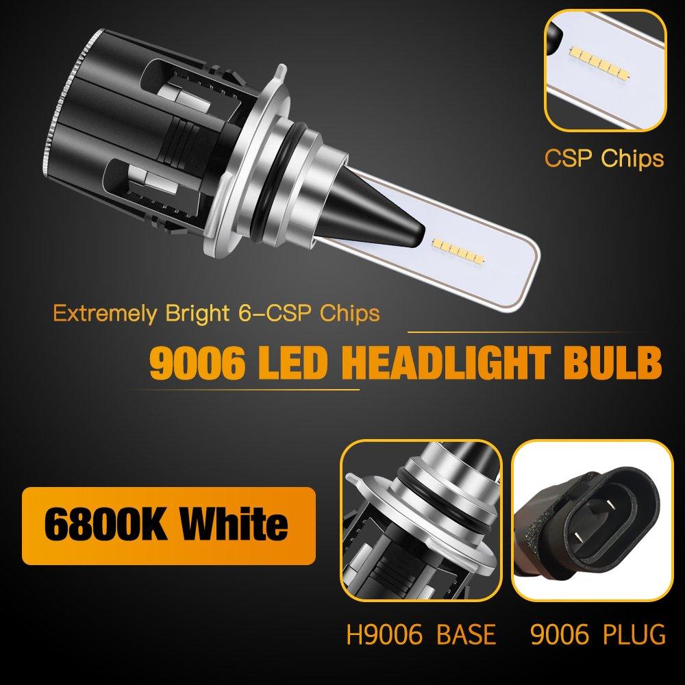 JKCOVER H11//H8//H9 LED Headlight Bulbs Conversion Kit 2 Yr Warranty 72W 6800K 10800Lumens B6 Series 24x CSP Chips Mini Light Bulb