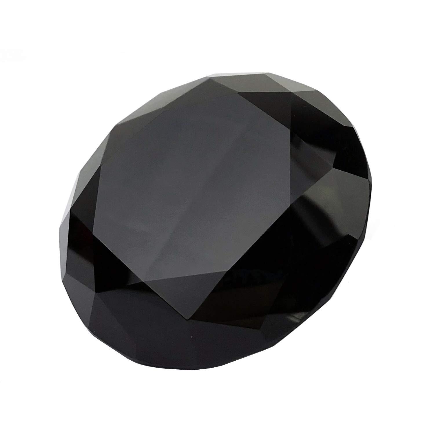 Black Crystal 80mm Jewel Paperweight Glass Diamond Decorations Giant Diamond Prop Wedding Home Decor by Chnee