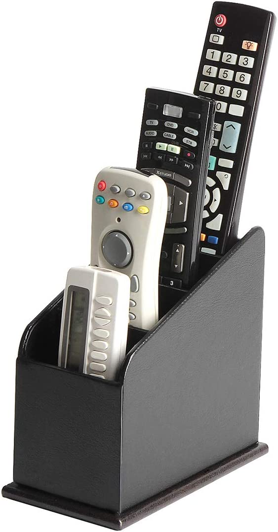 JackCubeDesign 4 Compartments Black Leather Remote Control Organiser Holder, Controller TV Guide, Media Storage Box - MK292A