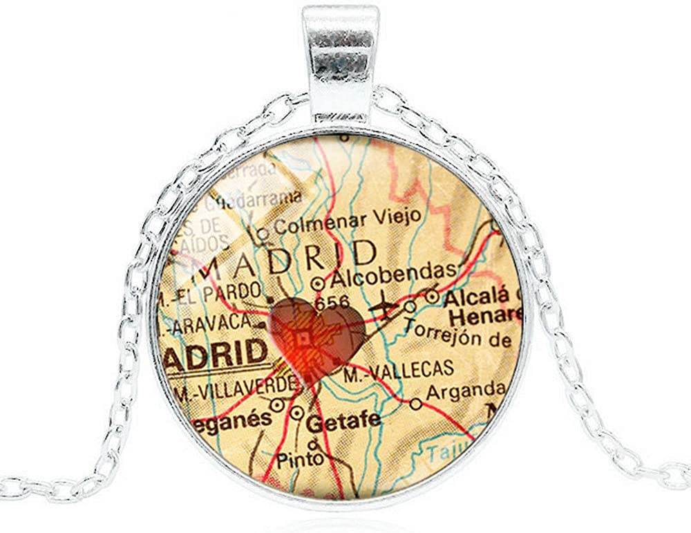 Spain Map Red Heart Necklace Handmade Glass Photo Pendant Fashion Women Men Jewelry Silver Color