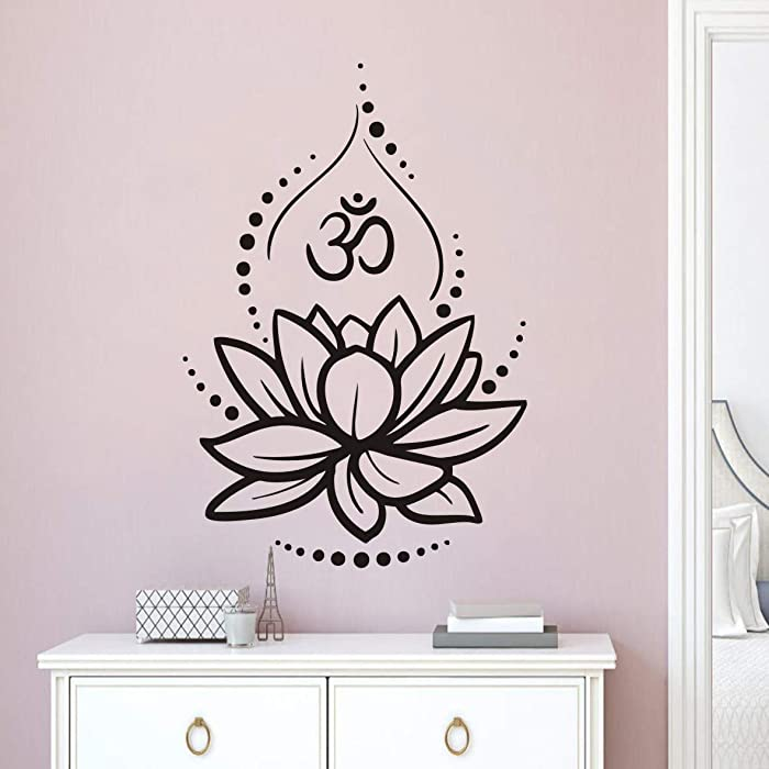 Hinduism Hindu Art Wall Sticker Lotus Flower Wall Decoration Removable Ornament Yoga Poster Om Symbol Mural for Bedroom LY224 (Black, 57x84cm)