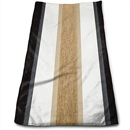 Amazoncom Jtrvw Luxury Hand Towels Black Taupe Brown White Stripe