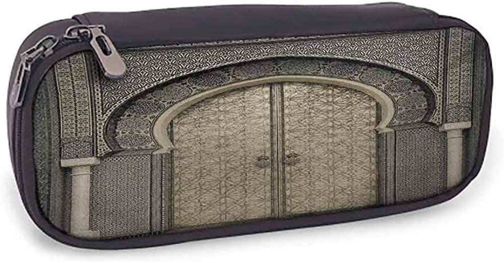 Bolso de cuero Marroquí Uso diario Puerta envejecida Patrón geométrico Puerta Diseño Entrada Arquitectónico Estilo oriental Sepia Negro